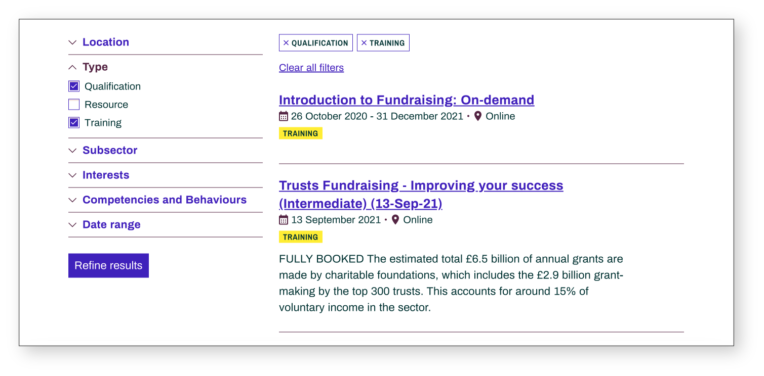 Screenshot of chartered institute of fundraising courses