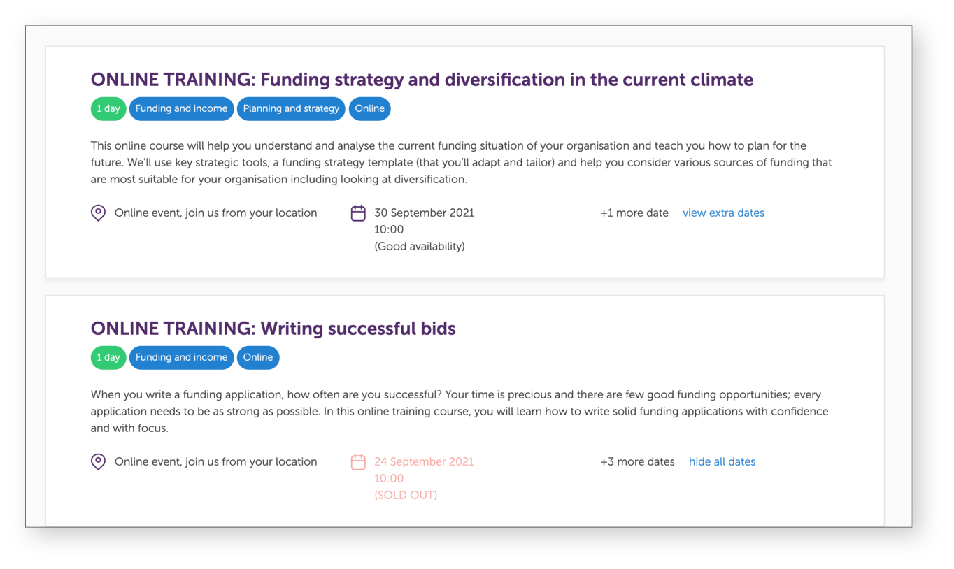 screenshot of NCVO fundraising courses